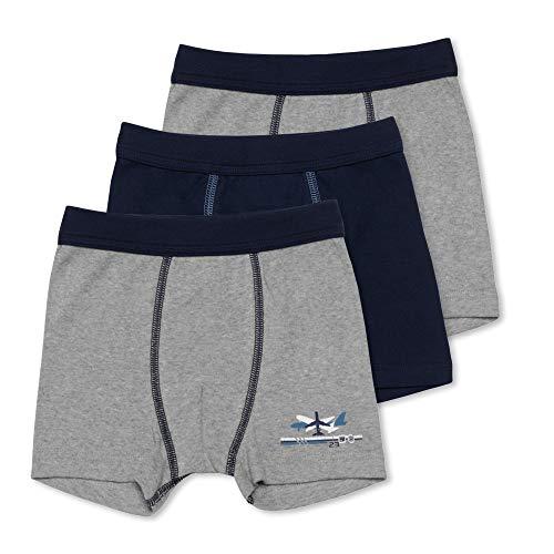 Sweety 3er Pack Retro Boxer-Shorts Gr. 128 I Jungen Unterhosen aus 100% Baumwolle mit Weichbund I Hochwertige Unterhosen Kinder I Unterwäsche Jungen I Grau