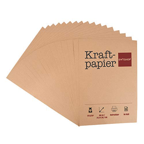 Carta kraft, 50 fogli, DIN A4, cartoncino naturale, di alta qualità, marrone naturale, 170 g