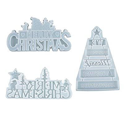Emfure 3 Pack Merry Christmas Molds 3D Silicone...