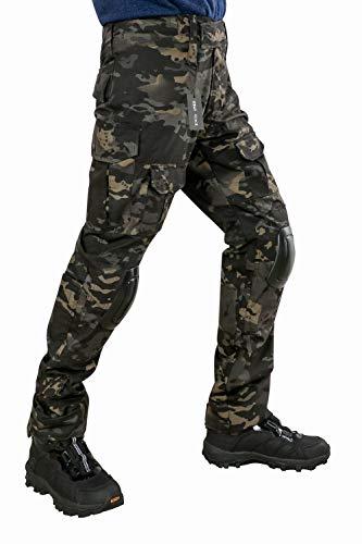 [HEAT VOICE] サバゲー BDU 迷彩服 戦闘服 自衛隊 ズボン 日本人サイズ 二ーパッド ニーパッド付き (XL, マルチカムブラック)