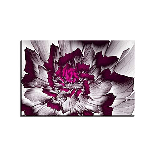 ZXYJJBCL Pintura De Lienzo, Pintura De Arte De Pared, Imagen Impresa En Lienzo, Imágenes para Decoración del Hogar, Decoración, Pieza De Regalo Flor Morada Abstracta 30x40cm Framed