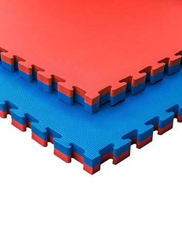 JOWY Lote 4 Unidades Esterilla Goma Espuma Tatami Puzzle   Tatami Suelo Gimnasio Ideal Artes Marciales 1 m x 1 m x 4 cm Rojo/Azul