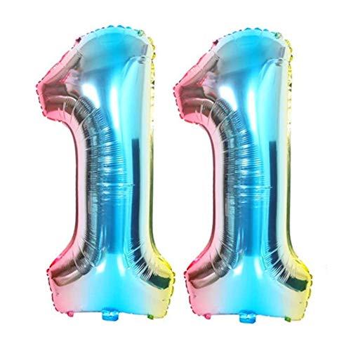 DIWULI, Globos XL de color azul, multicolor, arcoíris, con números, globos, globos, para cumpleaños, bodas, fiestas, decoración