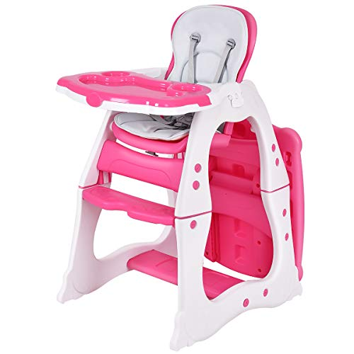 Costzon Baby High Chair, 3 in 1 Infant Table and Chair Set, Convertible Booster Seat with 3-Position Adjustable Feeding Tray, Adjustable Seat Back, 5-Point Harness (Pink)