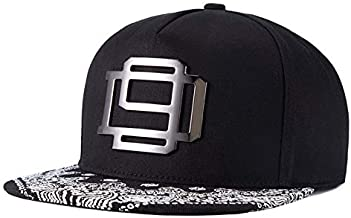 Paisley Flat Brim Black Hat Snapback Baseball Cap For Men Women