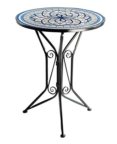 Kobolo Gartentisch Mediterran mit Platte in Mosaikoptik - Höhe 68 cm Durchmesser 55 cm