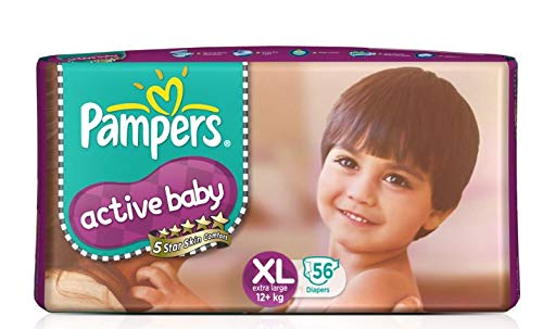 Pampers Active Baby Taped Diapers, Extra Large size diapers, (XL) 56 count, Taped style custom fit