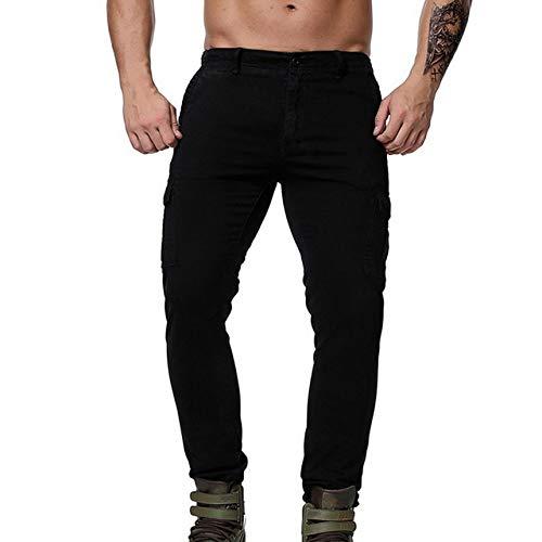 Loeay Herren Cargo Combat Work Hose Tactical Pants Jogging Plus Size Mehrfach Military Style Hose Slim Fit Hombre Streetwear Schwarz 32