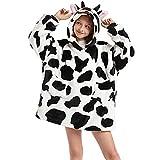 YITTD Sudadera con Capucha de Gran tamaño Albornoz Manta Usable con Dos Bolsillos Pijama de Franela para Niña Niño Manta con Capucha Pull-Over Sweater Jersey (Vaca en Blanco y Negro)