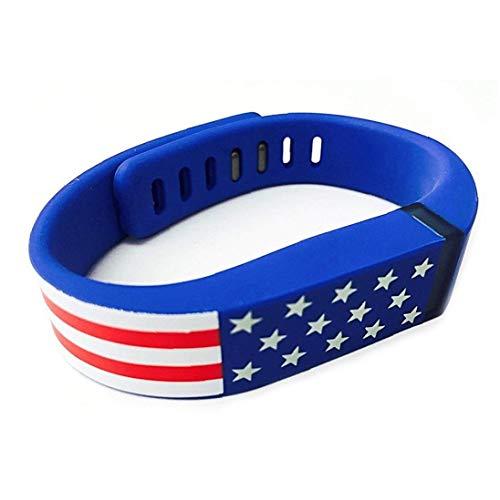 Hiinice Banda de reemplazo para patrón de la Bandera Americana de Barras Estrellas EE.UU. Banda de Silicona Pulsera de la Venda para Hombres y Mujeres - Azul