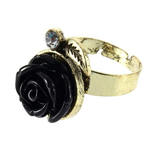 FENGMEI Anillo Ajustable de la Flor de Las señoras del diseñador del Antiguo Retro Rose Accesorios de Boda