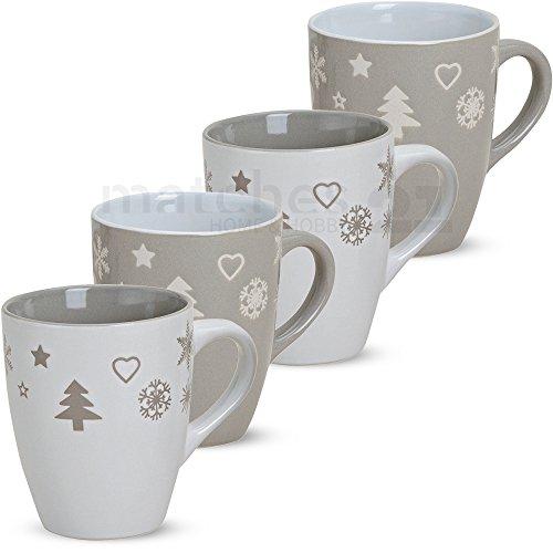 matches21 Becher Tassen Kaffeetassen Weihnachtsmotive Weihnachten grau weiß Keramik 4er 11 cm 300 ml - ohne Tassenhalter