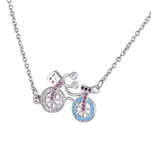 Tornado Fahrrad-Kristall-Halskette, Kupfer, Mikro-eingelegter Zirkon-Anhänger, Halskette, Sterlingsilber, 2,5 cm, 1 Stück, edelstahl, Fahrrad, 45+5cm