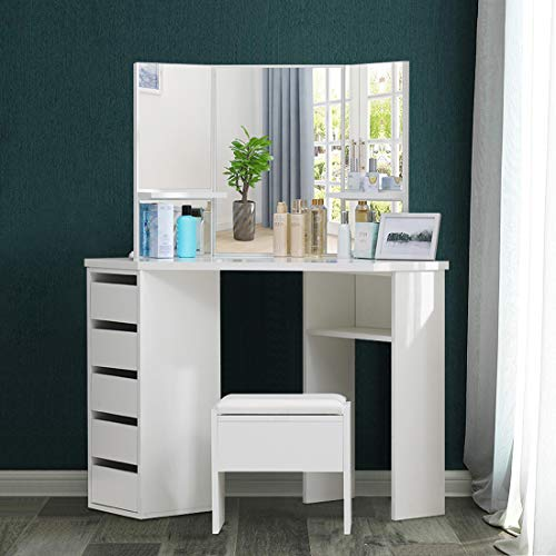 OFCASA 3 Mirrors 5 Drawers Dressing Table with Faux Leather Stool White Corner Curved Makeup Desk Storage Shelves for Girls Bedroom
