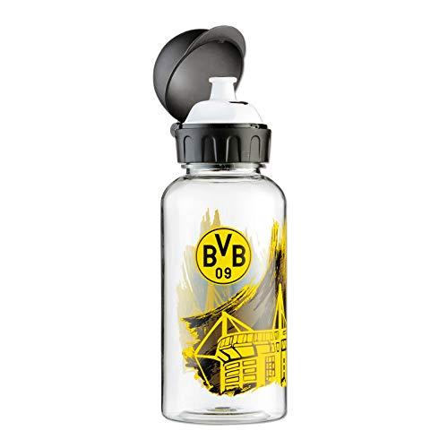 Borussia Dortmund Kinder (Unisex) Bvb-trinkflasche mit Stadionmotiv (Tritan) Trinkflasche, Schwarz/gelb, Einheitsgröße