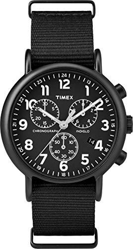 Timex Weekender 40mm Unisex Chronograph Black Fabric Strap TWF3C8420