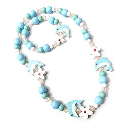 Yyuanshenortey 1 Set Kinder Armband + Kinder Halskette, Mix Farbe Holzperlen Mädchen Prinzessin Schmuck Geschenke