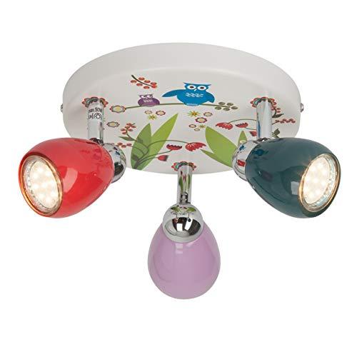 Brilliant Birds LED Spotrondell 3 flg Deckenstrahler schwenkbar bunt Kinderzimmer 750 Lumen, 3x GU10 3W LED-Reflektorlampen inklusive