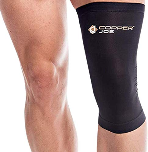 2 Pack - Copper Joe Knee Compression Sleeve - Highest Copper Content Knee Brace. Support for Jogging, Running, Gym, Weightlifting, Workout, Arthritis and ACL. Fit for Men and Women (Small)