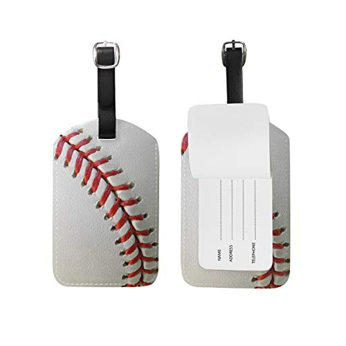 Baseball Luggage Tag for Baggage Suitcase Bag Leather 1 Piece