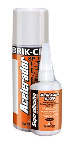 Quiadsa 53302029 Adhesivo de Cianoacrilato de Fraguado Rápido, 0, 50 g