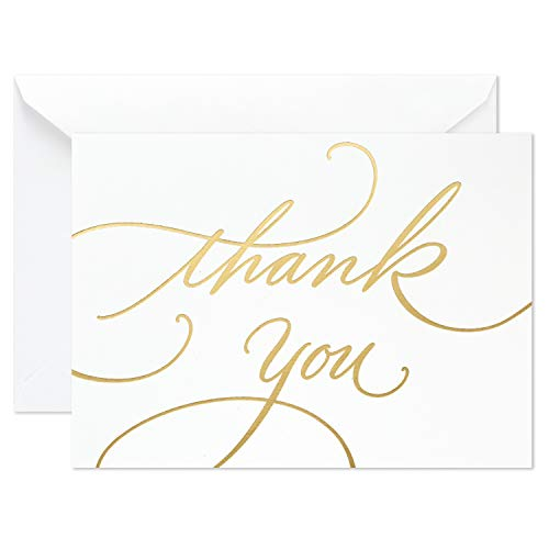 Hallmark Wedding, Baby Shower, Bridal Shower Thank You Cards (Gold Foil Script, 100 Thank You Notes and Envelopes)