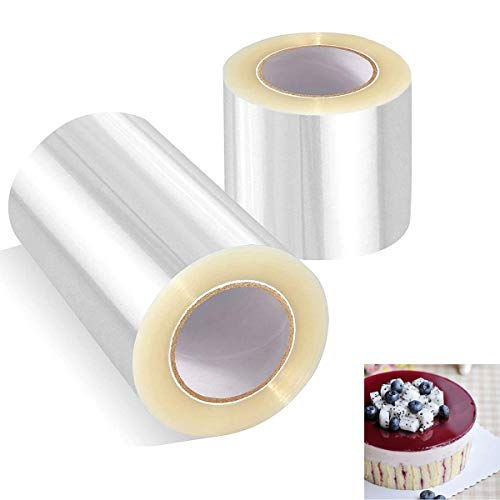 cailiya 2 Rollos de Transparente Rollo de Pasteleria,Acetato Transparente Pastel para Decoración de Repostería Pasteleria Chocolate Mousse - 10m* 15cm/10m* 8cm
