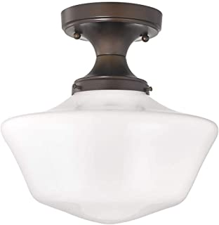 12-Inch Wide Bronze Schoolhouse Ceiling Light