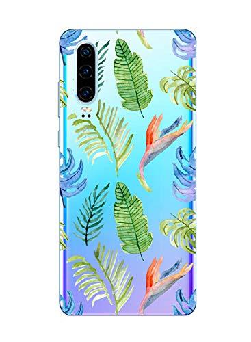 Oihxse Clair Case Compatible avec Xiaomi Redmi Note 7 Coque en Silicone Transparent Motif Fleur Floral Feuilles Motif pour Filles Femmes Antichoc Housse Protection TPU Bumper Cover(2)