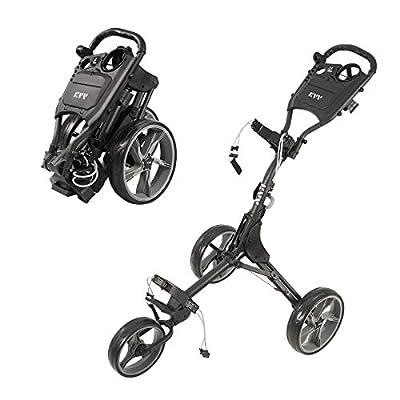 KVV 3 Wheel Foldable/Collapsible Golf Push Cart Ultra Lightweight Smallest Folding Size, New-Version Scorecard Holder