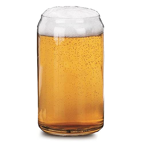 Libbey Beer Can Glasses 16oz / 470ml - Set of 4   Novelty Beer Glasses, Glass Beer Cans
