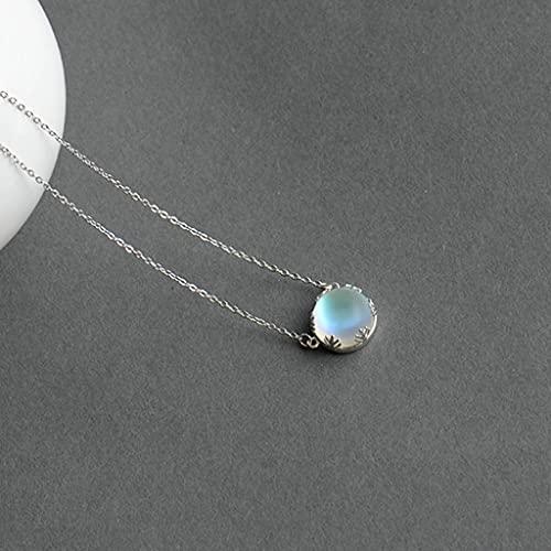 KONZFP collarCollar con Colgante de Aurora, Collar de luz de Escala de Plata con Piedras Preciosas de Cristal Halo para Mujer, Regalo Elegante de joyería