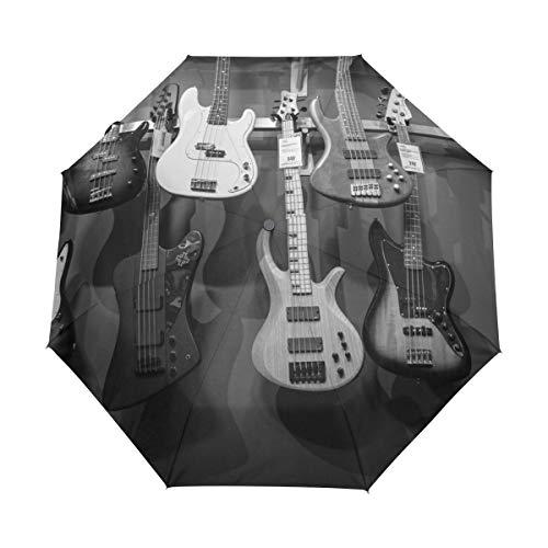 Kleiner Reiseschirm Winddicht im Freien Regen Sonne UV Auto Compact 3-Fach Regenschirmabdeckung - Schwarz-Weiß-Bassgitarren Akustik