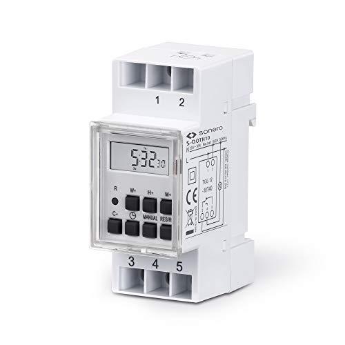 sonero® Digitale Zeitschaltuhr für Hutschienen / Schalttafel Einbau, 3600W, LCD-Display, 10 Schaltprogramme (Wochen-, Tages- und Minutenprogramm), 12/24h Timer, IP20, weiß, S-DOTH10