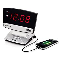 Westclox 71014 0.9 in. Led Plasma Screen Alarm Clock with USB Charging Port, Silver