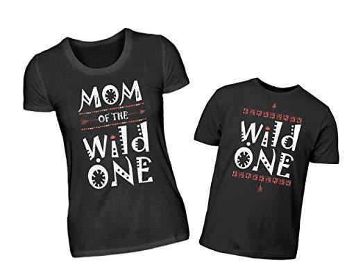Mutter Sohn Partnerlook T-Shirt Set Mom of The Wild One & Wild One Rundhals Shirt Eltern Kind Indianer Design Partneroutfit (M & 7/8 (122/128))