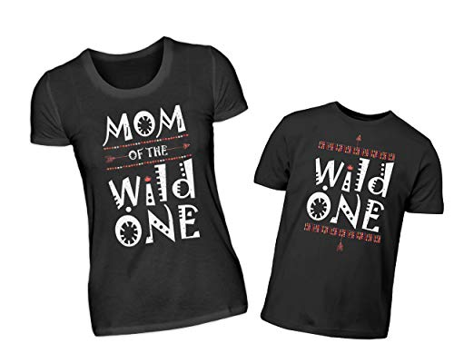 Mutter Sohn Partnerlook T-Shirt Set Mom of The Wild One & Wild One Rundhals Shirt Eltern Kind Indianer Design Partneroutfit (M & 7/8 (122/128))