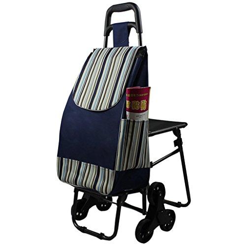Einkaufstrolleys KUN Peng Shop Multifunktions-Band-Stuhl, wenn beweglicher Falten-Einkaufswagen/Kleiner Wagen-Aluminiumschlauch 16mm Streifen A+ (größe : Six Rounds)