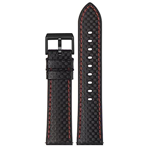 Correa de reloj de piel auténtica   Stailer Premium Max Endurance Sport Collection   poliuretano con textura de carbono   Tamaño 22 mm 20 mm, Negro , 22mm,