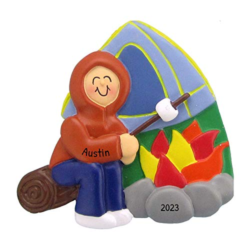 Personalized Camping Christmas Tree Ornament 2020 - Camper Boy Roasting Marshmallow First Child Camp Fire 1st Tent Summer Outdoor Activity Vacation Wood Home Away - Free Customization (Male)