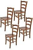 Tommychairs - Set 4 sillas Venice para Cocina y Comedor, Estructura en Madera de Haya Color Nuez Claro y Asiento en Madera