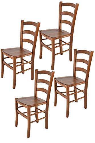 Tommychairs sillas de Design - Set 4 sillas Modelo Venice para Cocina, Comedor, Bar y Restaurante, con Estructura en Madera Color Nuez Claro y Asiento en Madera