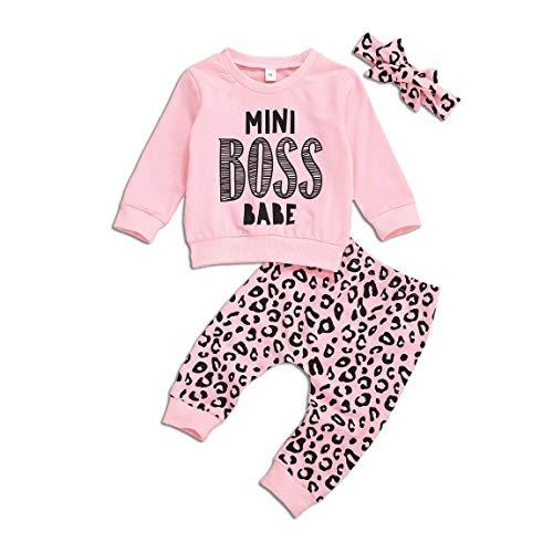 Bebé del niño Ropa Linda de la Muchacha Manga Larga Letra Impresa T-Shrit Camisa de Entrenamiento Pantalones de Leopardo Diadema Trajes Otoño Invierno (Rosado, 12-18 Meses)
