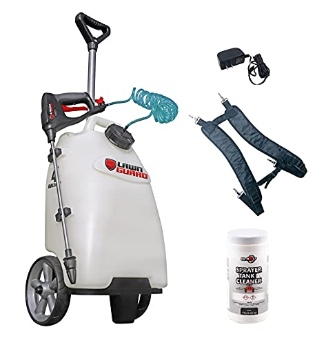 DU-MOST Fimco 5303079 Lawn Guard Multi Use Battery Powered Spot Sprayer for Small Scale Pest Control, 4 Gallon Polymer Tank, 0.2 GPM Diaphragm Pump Hand Gun, Charger & 1 Lb Sprayer Tank Cleaner