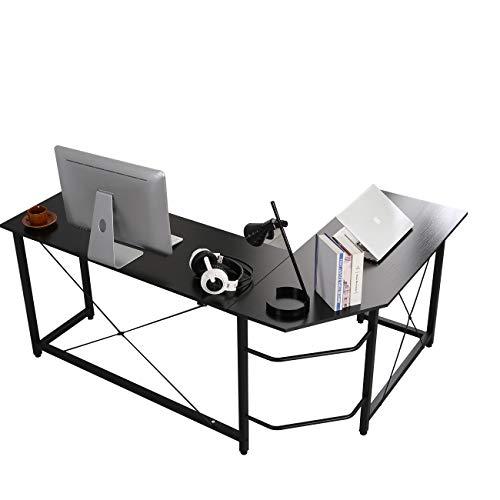 DlandHome Computertisch Eckschreibtisch Winkelschreibtisch L-förmig, großer Gaming Schreibtisch Arbeitstisch Bürotisch PC Laptop Studie Tisch mit CPU-Ständer Nussbaum, Schwarz