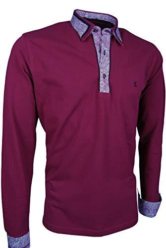 Giorgio Capone Premium-Langarm-Poloshirt, einzigartiger Hemdkragen & Manschetten, Pique-Stoff 100% Baumwolle, Kamin-Rot (4XL)