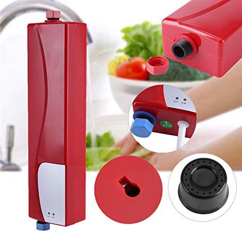 Warmwasserbereiter,Hocheffizienter Elektrische Mini Instant Warmwasserspeicher Durchlauferhitzer mit LED Anzeige,220 V 3000 Watt,für Haus Küche Bad(Rot)