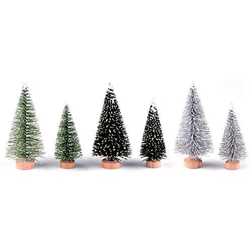 Árboles de Navidad Catkoo, árboles de pino en miniatura, árboles de sisal esmerilados con base de madera, brocha para botellas, árboles, adornos de nieve de invierno, árboles de mesa para fiestas de Navidad, pvc, 6Pcs/Set*