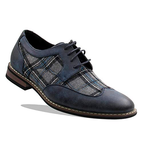 Men's Lace Up Plaid Oxford Wing Tip Dress Classic Shoes (12, Navy/Grey/Navy)