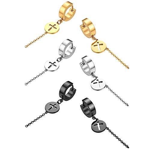 Flongo Herren Ohrstecker Creolen Damen Kreuz Ohrringe Ohrhänger, 6 Stück Set aus Edelstahl in Silber Schwarz Gold Stecker mit hängenden Kreuz Münze Kette Anhänger Männer, Frauen